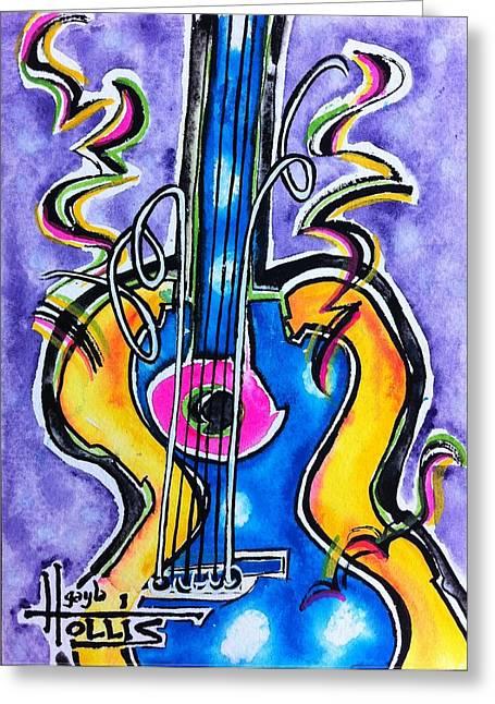 Cynthia Parker Greeting Cards - Mardi Gras Guitare Greeting Card by Gayla Hollis