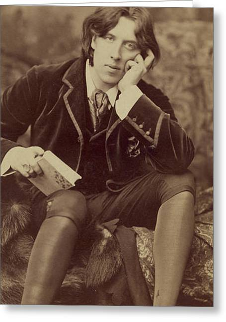 Full-length Portrait Photographs Greeting Cards - Oscar Wilde 1882 Greeting Card by Napoleon Sarony