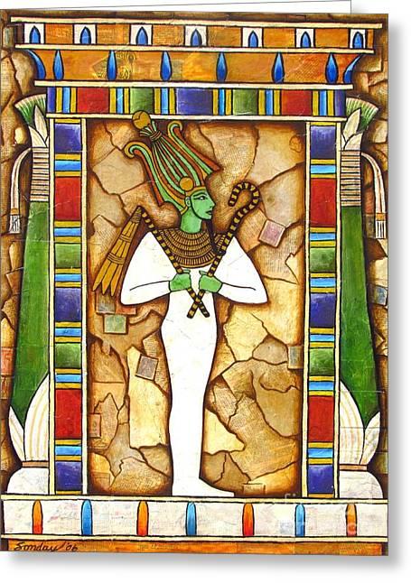 Egyptian Art Greeting Cards - Osiris Greeting Card by Joseph Sonday
