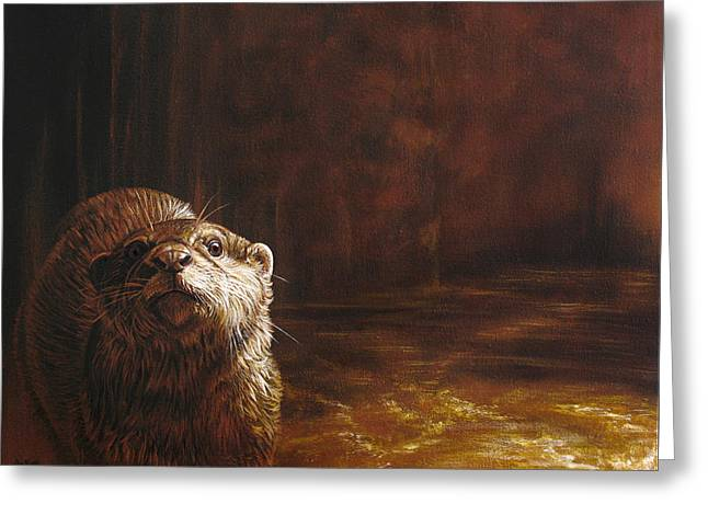 Otter Curiosity Greeting Card by Cara Bevan