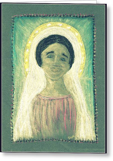 Jesus Pastels Greeting Cards - Our Lady Greeting Card by Lyn Blore Dufty