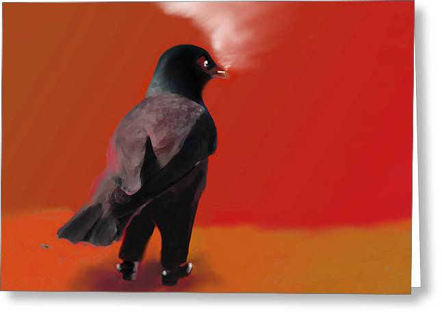 Corvus Greeting Cards - Out for a walk... Greeting Card by Marcello Cicchini