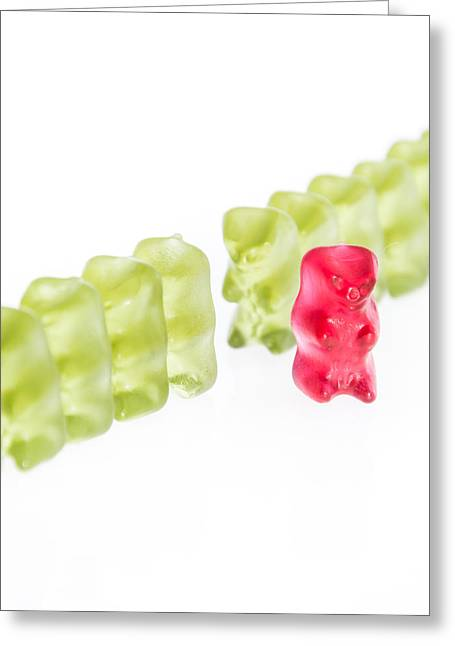 Gummi Candy Greeting Cards - Out of the row Greeting Card by Handmade Pictures