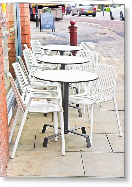 Catering Greeting Cards - Outside cafe Greeting Card by Tom Gowanlock