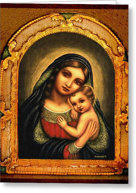 Devotional Mixed Media Greeting Cards - Oval Madonna Greeting Card by Ananda Vdovic