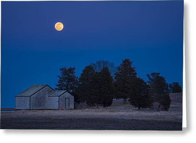 Moonrise Greeting Cards - Over the Boathouse Greeting Card by Michael Blanchette
