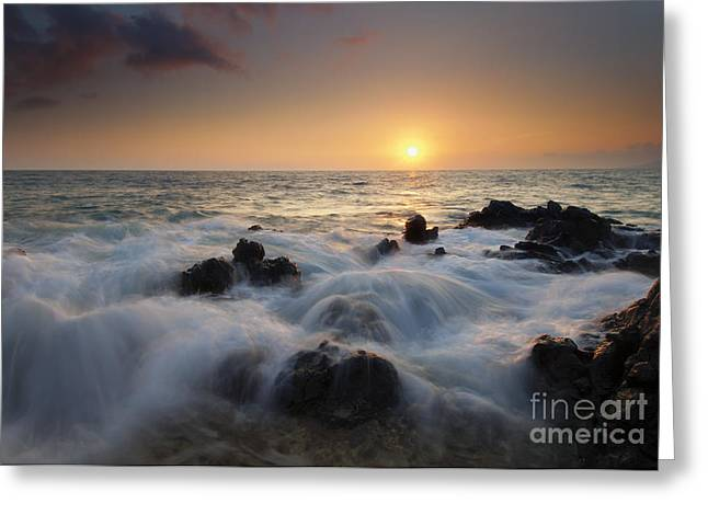 Maui Greeting Cards - Over the Rocks Greeting Card by Mike  Dawson