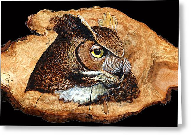 Head Pyrography Greeting Cards - Owl on Oak Slab Greeting Card by Ron Haist