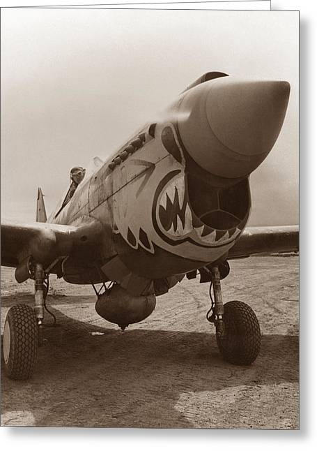 Warhawk Greeting Cards - P-40 Warhawk Greeting Card by War Is Hell Store