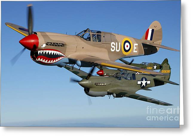 Curtiss Kittyhawk P-40 Greeting Cards - P-40 Warhawks Flying Over Chino Greeting Card by Phil Wallick