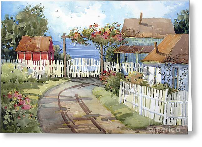 Shed Paintings Greeting Cards - Pacific Out Back Greeting Card by Joyce Hicks