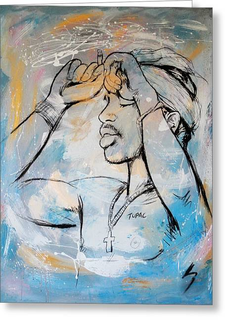 Him Greeting Cards - 2 PacTupac Shakur painting art poster Greeting Card by Kim Wang
