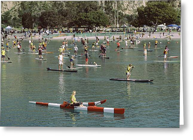 California Ocean Photography Greeting Cards - Paddleboarders In The Pacific Ocean Greeting Card by Panoramic Images