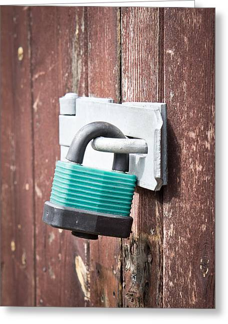 Shackle Greeting Cards - Padlock Greeting Card by Tom Gowanlock