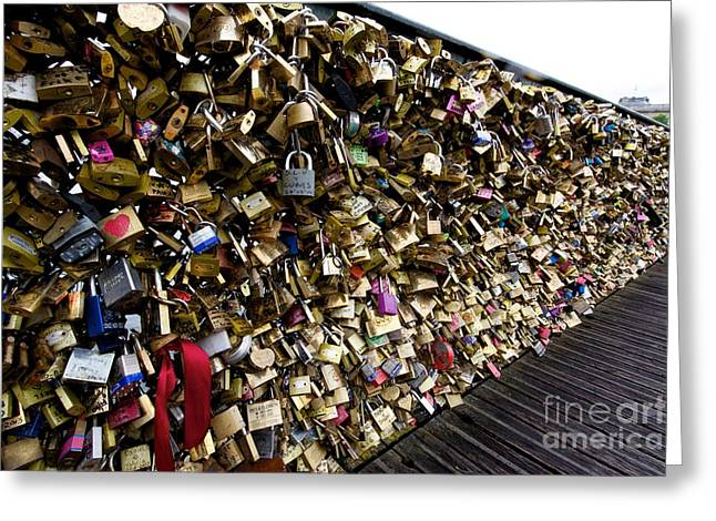 Abundance Greeting Cards - Padlocks on The Pont des Arts. Paris. France Greeting Card by Bernard Jaubert