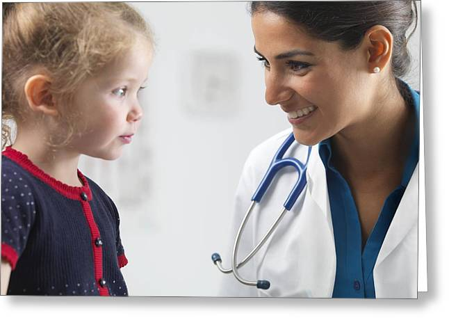3 Year Old Girl Greeting Cards - Paediatric examination Greeting Card by Science Photo Library