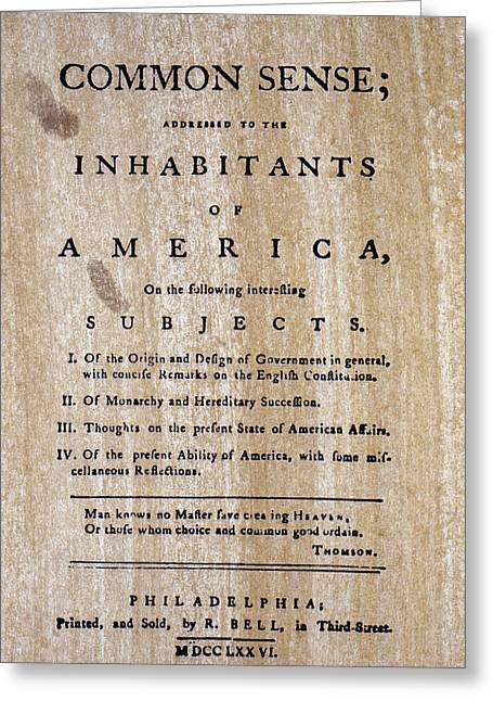 American Independance Photographs Greeting Cards - Paine: Common Sense, 1776 Greeting Card by Granger