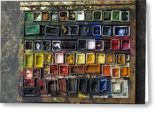 Artist Photographs Greeting Cards - Paint box Greeting Card by Bernard Jaubert