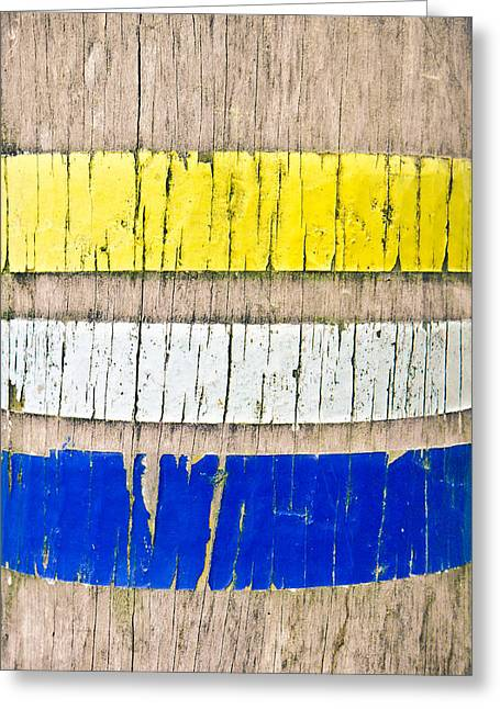 Wooden Stake Greeting Cards - Paint marks Greeting Card by Tom Gowanlock