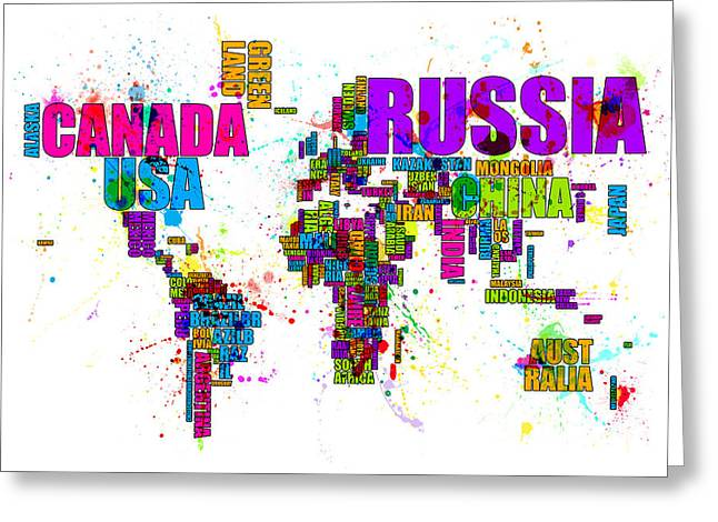 Font Map Digital Greeting Cards - Paint Splashes Text Map of the World Greeting Card by Michael Tompsett