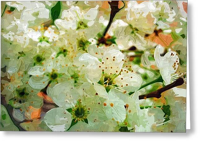 Easter Flowers Paintings Greeting Cards - Painting Flowers With acrylics Greeting Card by Victor Gladkiy
