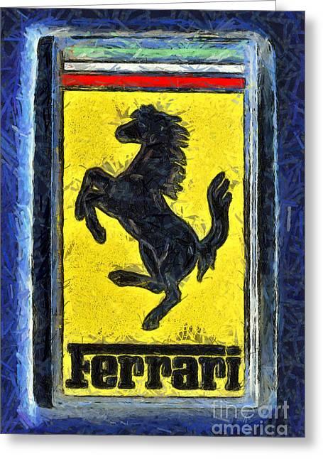 Car Mascot Paintings Greeting Cards - Painting of Ferrari badge Greeting Card by George Atsametakis