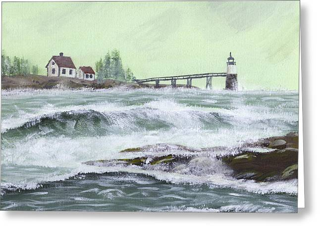Coastal Maine Paintings Greeting Cards - Ram Island Lighthouse During Storm Greeting Card by Keith Webber Jr