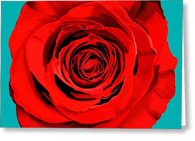 Old Objects Greeting Cards - Painting Of Single Rose Greeting Card by Setsiri Silapasuwanchai
