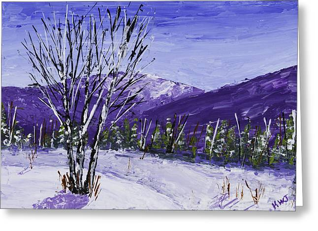 Winter Art Greeting Cards - Painting of White Birch Trees in Winter Greeting Card by Keith Webber Jr