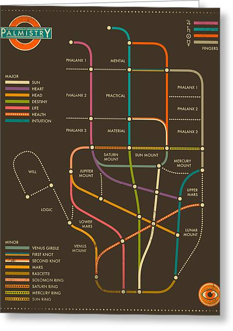 Palmistry Subway Map Greeting Card by Jazzberry Blue