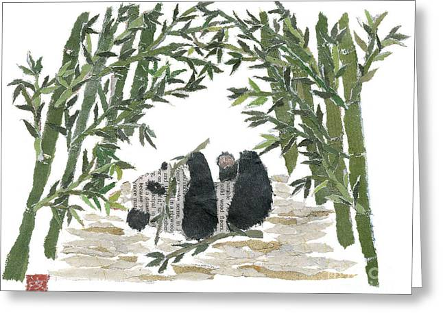 Recently Sold -  - Tears Greeting Cards - PANDA BEAR IN BAMBOO BUSH Hand-Torn Newspaper Collage Art  Greeting Card by Keiko Suzuki
