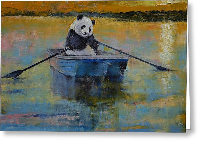 Humor Greeting Cards - Panda Reflections Greeting Card by Michael Creese
