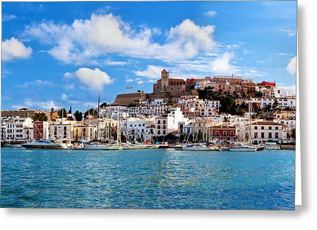 Recently Sold -  - City Lights Greeting Cards - Panorama of Ibiza Spain Greeting Card by Michal Bednarek