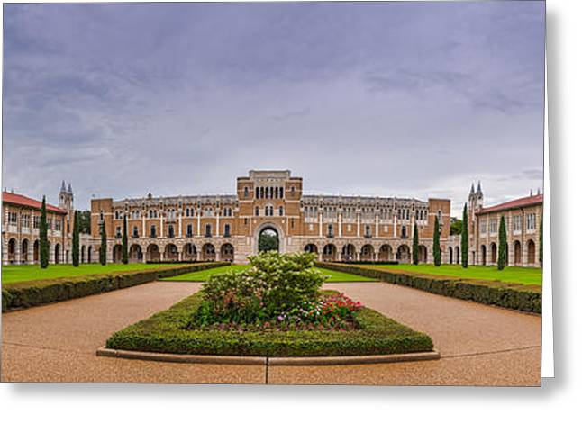 Medical Greeting Cards - Panorama of Rice University Academic Quad - Houston Texas Greeting Card by Silvio Ligutti