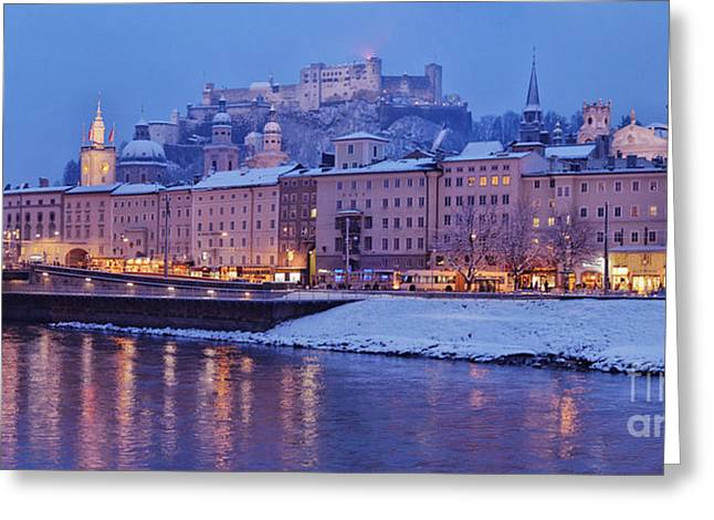 Salzburg Greeting Cards - Panorama of Salzburg in the Winter Greeting Card by Sabine Jacobs