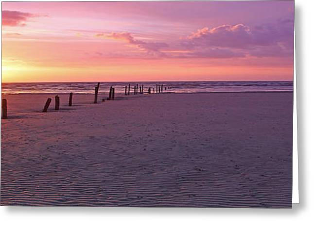 Somerset - England Greeting Cards - Panoramic Beach Sunset Somerset Greeting Card by Ollie Taylor