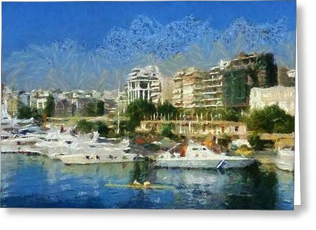 Port Greeting Cards - Panoramic painting of Pasalimani port Greeting Card by George Atsametakis