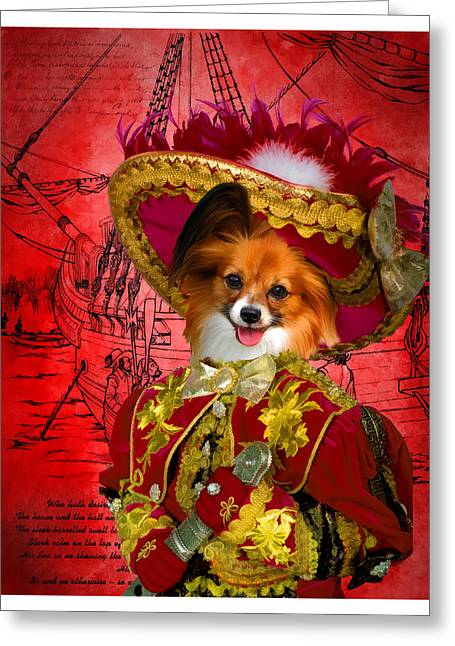Papillon Dog Greeting Cards - Papillon - Continental Toy Spaniel Art Canvas Print Greeting Card by Sandra Sij