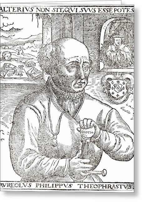 Symbolic Of The Child Greeting Cards - Paracelsus, Swiss alchemist Greeting Card by Science Photo Library