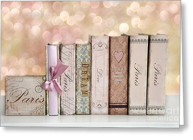 Book Photographs Greeting Cards - Paris Dreamy Shabby Chic Romantic Pink Cottage Books Love Dreams Paris Collection Pastel Books Greeting Card by Kathy Fornal