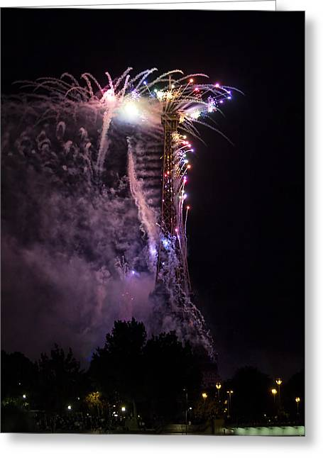 Bastille Greeting Cards - PARIS - JULY Famous fireworks near Eiffel Tower during celeb Greeting Card by Radoslav Nedelchev