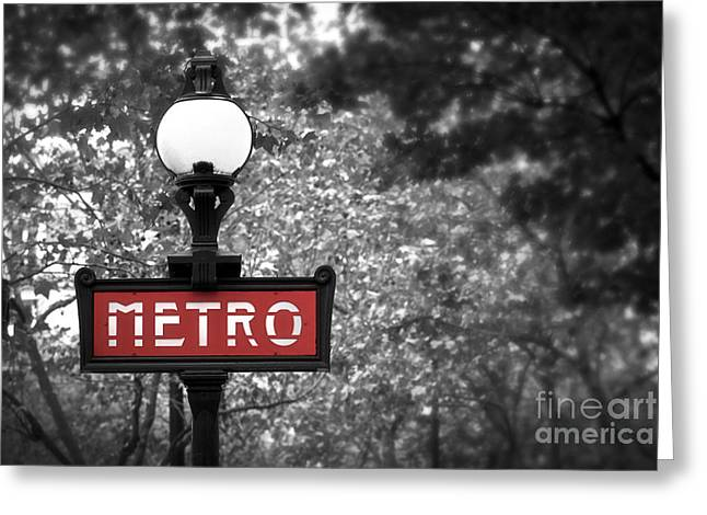 Park Lights Greeting Cards - Paris metro Greeting Card by Elena Elisseeva