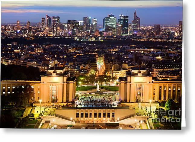 Paris Panorama France At Night Greeting Card by Michal Bednarek