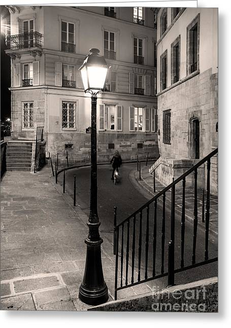 Alley Stairs Greeting Cards - Paris Street Greeting Card by Brian Jannsen