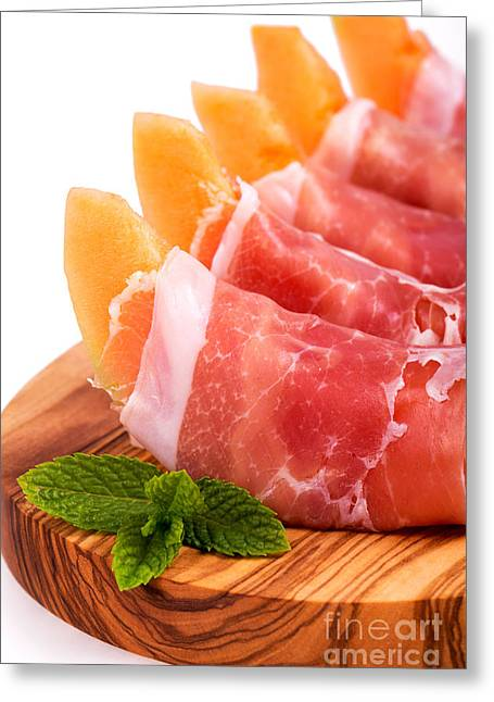 Pork Greeting Cards - Parma ham and melon Greeting Card by Jane Rix