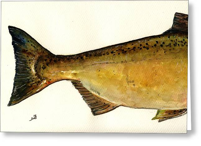 Chinook Salmon Greeting Cards - 2 part Chinook king salmon Greeting Card by Juan  Bosco