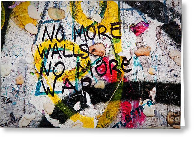 Berlin Wall Greeting Cards - Part of Berlin Wall with graffiti and chewing gums  Greeting Card by Michal Bednarek