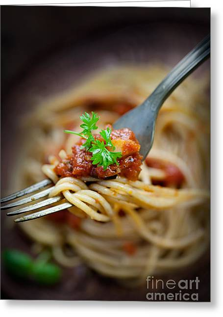 Noodles Greeting Cards - Pasta with tomato sauce Greeting Card by Mythja  Photography