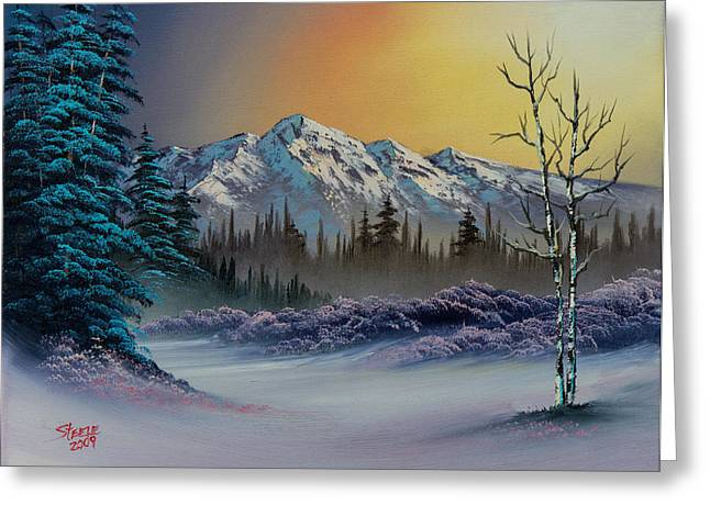 Bob Ross Paintings Greeting Cards - Frosty Enchantment Greeting Card by C Steele