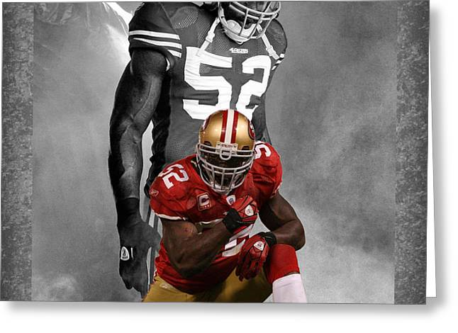 PATRICK WILLIS 49ERS Greeting Card by Joe Hamilton